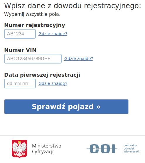 Kary za cofanie licznika - Historiapojazdu.gov.pl